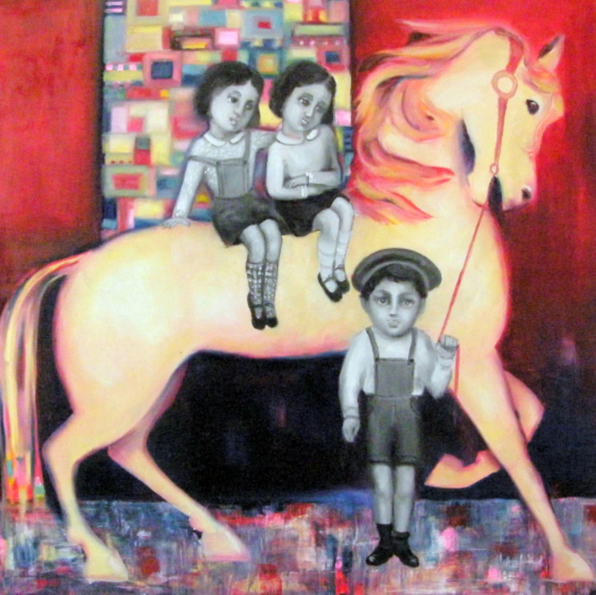 Een paard met drie kindjes